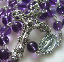 NATURAL 8MM AMETHYST BEADS ROSARY ITALY CROSS CRUCIFIX CATHOLIC NECKLACE BOX