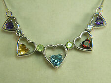 NECKLACE: NATURAL HEARTS CITRINE PERIDOT AMETHYST BLUE TOPAZ 925 STERLING SILVER