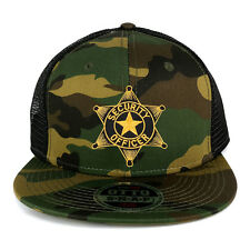 Security Officer Star Embroidered Black Gold Patch Camo Snapback Mesh Cap