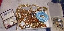 Lot of estate sale vanity grandma's drawer assorted trinkets jewelry buttons key