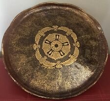 PEDESTAL CAKE STAND PLATE Gold~Brown GEORGES BRIARD~Scalloped Edge  A4.