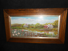Primitive Painting New England Village Covered Bridge Signed H Poydar Dealer