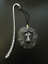 Lion Head Pewter Effect Animal 3D Emblem on a pattern bookmark with cord