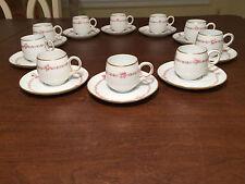 Antique/Vtg Set of 10 VICTORIA AUSTRIA Floral Porcelain DEMITASSE CUPS/SAUCERS