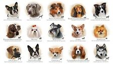 Fabric Dog Breeds on Cream Cotton Panel 23X44