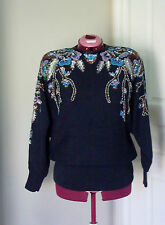 "Vtg 80s  Glamorous Black Sequined & Beaded Sweater ""Bonnie Boerer""  Sm  A FIND"