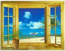 Large 3D Window Beach View Garden Sea Wall Stickers art Mural Decal Wallpaper