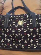Tommy Hilfiger Nautical Navy Blue Red White Anchor Travel Tote Handbag NEW  $99