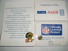 TWO 1985 NFL Coca Cola Peter David Los Angeles St Louis Rams 2 Bar Helmet Pin