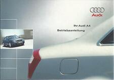 AUDI A4 Betriebsanleitung 2002 Bedienungsanleitung B6 Handbuch Bordbuch BA