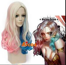 Sales Blonde Pink Blue Mix For Harley Quinn Cosplay Wig Heat Resistant Hair+Cap