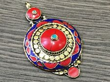 ANTIQUE TURQUOISE & RED CORAL &LAPIS STONE .925 TIBETAN SILVER PENDANT 39 GMS