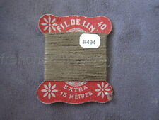 R494 Mercerie collection ancienne carte FIL DE LIN N°40 brun kaki Thread Card