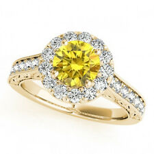 1.08 Cts Fancy Vivid Yellow Diamond Solitaire 14k YG Flower Style Bridal Ring