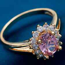 Ring 9ct Gold filled Pink Sapphire & Diamonds Cluster Oval size K Great Gift
