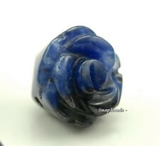 14X13Mm Sodalite Gemstone Blue Carved Rose Flower 14X13Mm Loose Beads 5 Beads