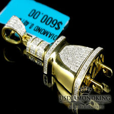 Men 10K Yellow Gold Finish Mini Plug Socket 0.40CT Genuine Diamond Pendant Charm