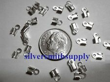 24 Silver plated foldover crimping thong lace end caps 4x2mm fps007