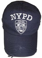 NYPD Baseball Hat New York Police Department Distressed White Logo Navy Blue NWT