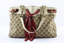 Gucci Tan Monogram Print Double Handle Scarf Postitano Shoulder Bag