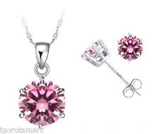 Lady Womans Gift Pink Gem Ear Studs Silver Stud Earrings Necklace Jewellery Set