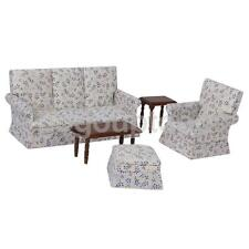 Doll House Miniature Living Room Furniture Floral Sofa Couch Table Footstool