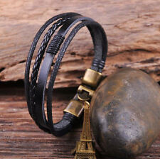 S532 Black Cool Leather & Hemp Hand Braid Bracelet Wristband Men's Cuff Bronze