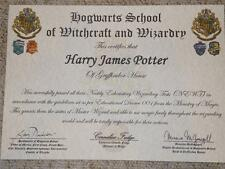 Harry Potter personalised hogwarts certificate diploma report with train ticket