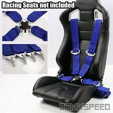 "2 x Universal Snap-On Blue 3"" 4-Point Safety Harness Racing Buckle Seat Belts"