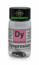 1 gram 99,95% Dysprosium metal element 66 Dy pieces, glass vial + colored label