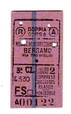BIGLIETTO FERROVIARIO TICKET EDMONSON MILANO AG BURNO COBIANCO BERGAMO19-11-1949