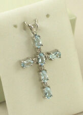Sassi DP320 Ladies 9ct 375 White Gold Real Aquamarine & Diamond Cross Pendant