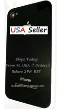 #1411NM iPhone 4 CDMA Battery Cover BLACK Verizon Sprint Back Glass OEM Door