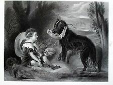BAMBINO,CANE,BARCHETTA,GIOCO,BARCA,INCISIONE STAMPA ANTICA,ENGRAVING,DOG,CHILD