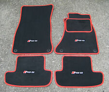 Dark Grey/Red SUPER VELOUR Car Mats - Audi RS5 (2010-2016) + RS5 Logos (x4)