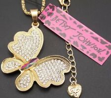 Betsey Johnson Cute Crystal Butterfly Pendant Necklace NWTs