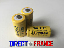 3 PILES ACCUS RECHARGEABLE CR123A 16340 3.7V 2500Mah GTF Li-ion BATTERIE