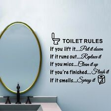 Toilet Rules Bathroom Decor Wall Stickers Vinyl Art Decals Home Room Decoration