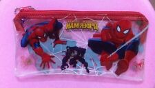 New Lot 12 pcs spider-man PVC Transparent creative pencil case Stationery Bags