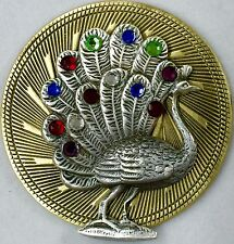 PEACOCK FULL OF JEWELS ON LARGE Stamped Brass Antique Style~Picture Button~2""