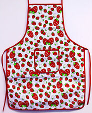 Strawberry Print Kitchen Apron Bib with Pocket Cooking Baking Chefs 100% Cotton