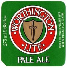 UK Beer Label - Bass Brewery - Staffordshire - Worthington Lite Pale Ale