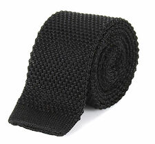 Authentic Tootal Plain Knitted Silk Skinny Mod Tie in Black, Navy & Burgundy