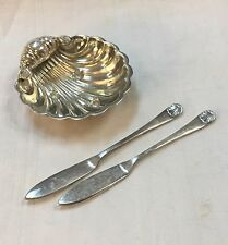 1873 CARTIER Sterling Silver SHELL Caviar Dish & Knives by Hollander & Son