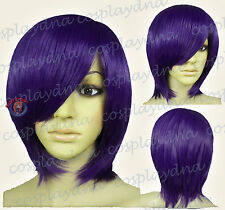 16 inch Hi_Temp Dark Purple Long Layer Bob Cut Short Cosplay DNA Wigs 65737