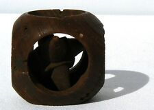Interesting unusual carved whimsy cube w/circular openings 6 pointed star inside