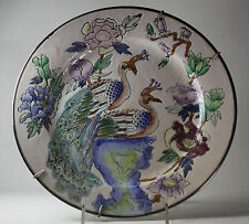 "Asian Antique Chinese Tung chih Peacock Plate 10.5""  Signed 1862-1873"