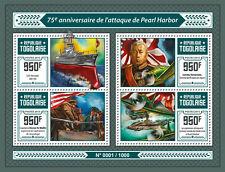 Togo 2016 estampillada sin montar o nunca montada Pearl Harbor ataque 75th aniversario 4v m/s sellos de la Segunda Guerra Mundial Aviones de combate