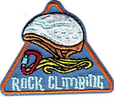 """ROCK CLIMBING""- Iron On Embroidered Applique Patch -Sports, Words, Climbing"