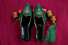ANTIQUE UNIQUE HANDMADE OTTOMAN 19th c WOMEN SLIPPERS WOOL SILVER THREAD DESIGN